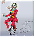Joaquin Phoenix rides a unicycle and juggles brains in a spoof of the movie Joker