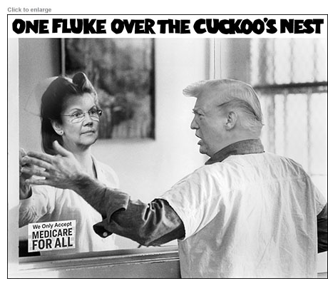 Elizabeth Warren as Nurse Ratched and Donald Trump as McMurphy in One Fluke Over the Cuckoo's Nest spoof of Medicare-For-All