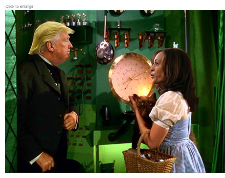 Donald Trump and Kamala Harris as the Wizard of Oz and Dorothy in spoof The Wizard of Id
